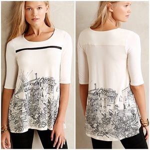 Anthropologie Hall & Parlor Graphic Jersey Tee Top